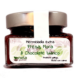 Mermelada Extra  de Fresa, Mora y Chocolate Blanco